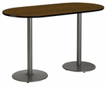 30''W x 72''D RaceTrack Laminate Bistro Height Pedestal Table with Walnut Top - Silver Round Base [T3072R-B1917-SL-WL-38-IFK]