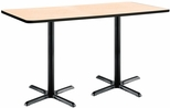 30''W x 72''D Rectangular Laminate Bistro Height Table with Natural Top - Black X-Base [T3072-B2015-BK-NA-38-IFK]