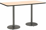 30''W x 72''D Rectangular Laminate Bistro Height Table with Natural Top - Silver Round Base [T3072-B1917-SL-NA-38-IFK]