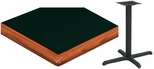 30'' x 48'' Laminate Table Top with Bullnose Wood Edge and Base - Standard Height [ATWB3048-T2430M-SAT]