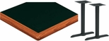 30'' x 72'' Laminate Table Top with Bullnose Wood Edge and 2 Bases - Standard Height [ATWB3072-T0522M-SAT]