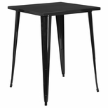 31.5'' Square Bar Height Black Metal Indoor-Outdoor Table [CH-51040-40-BK-GG]