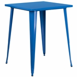 31.5'' Square Bar Height Blue Metal Indoor-Outdoor Table [CH-51040-40-BL-GG]