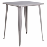 31.5'' Square Bar Height Silver Metal Indoor-Outdoor Table [CH-51040-40-SIL-GG]