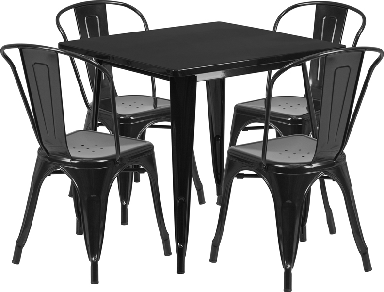 31 5 Square Black Metal Indoor Outdoor Table Set with 4