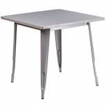 31.5'' Square Silver Metal Indoor-Outdoor Table [ET-CT002-1-SIL-GG]