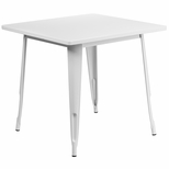 31.5'' Square White Metal Indoor-Outdoor Table [ET-CT002-1-WH-GG]