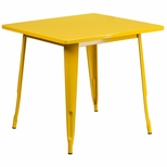 31.5'' Square Yellow Metal Indoor-Outdoor Table [ET-CT002-1-YL-GG]