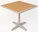 32'' Square Synthetic Teak Outdoor Table Top with Silver Base [TA-PT-32X32-AL-1805-FLS]