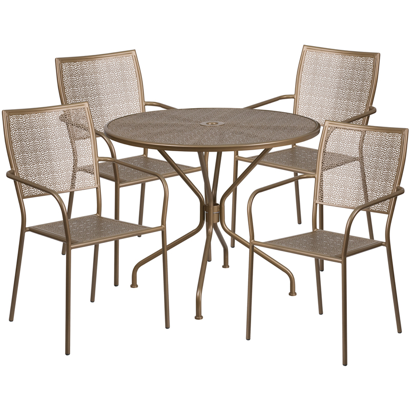 Round Gold Indoor Outdoor Steel Patio Table Set With 4 Square