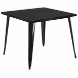35.5'' Square Black Metal Indoor-Outdoor Table [CH-51050-29-BK-GG]
