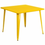 35.5'' Square Yellow Metal Indoor-Outdoor Table [CH-51050-29-YL-GG]