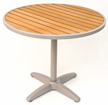 36''D Synthetic Teak Outdoor Table Top with Silver Base [TA-PT-36RD-AL-1805-FLS]