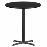 36'' Round Black Laminate Table Top with 30'' x 30'' Bar Height Base [BFDH-36BKRD-4BAR-TDR]