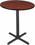 Cain 36'' Round Laminate Cafe Table with PVC Edge - Cherry [TCB36RNDCH-FS-REG]