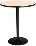36'' Round Laminate Bistro Height Pedestal Table with Natural Top - Black Round Base [T36RD-B1922-BK-NA-38-IFK]