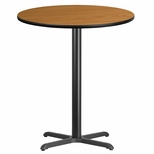36'' Round Natural Laminate Table Top with 30'' x 30'' Bar Height Base [BFDH-36NATRD-4BAR-TDR]