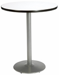 36'' Round Laminate Bistro Height Pedestal Table with Crisp Linen Top - Silver Round Base [T36RD-B1922-SL-CL-38-IFK]
