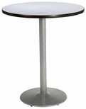 36'' Round Laminate Bistro Height Pedestal Table with Grey Nebula Top - Silver Round Base [T36RD-B1922-SL-GYN-38-IFK]