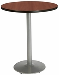 36'' Round Laminate Bistro Height Pedestal Table with Mahogany Top - Silver Round Base [T36RD-B1922-SL-MH-38-IFK]