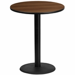 36'' Round Walnut Laminate Table Top with 24'' Round Bar Height Base [BFDH-36WALRD-7BAR-TDR]