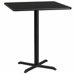 36'' Square Black Laminate Table Top with 30'' x 30'' Bar Height Base [BFDH-3636BKSQ-4BAR-TDR]