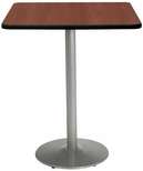 36'' Square Laminate Bistro Height Pedestal Table with Mahogany Top - Silver Round Base [T36SQ-B1922-SL-MH-38-IFK]