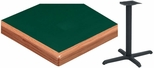 36'' Square Laminate Table Top with Waterfall Wood Edge and Base - Bar Height [ATW3636-T3030-BAR-3M-SAT]