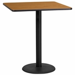 36'' Square Natural Laminate Table Top with 24'' Round Bar Height Base [BFDH-3636NATSQ-7BAR-TDR]