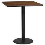 36'' Square Walnut Laminate Table Top with 24'' Round Bar Height Base [BFDH-3636WALSQ-7BAR-TDR]
