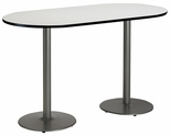 36''W x 72''D RaceTrack Laminate Bistro Height Pedestal Table with Crisp Linen Top - Silver Round Base [T3672R-B1922-SL-CL-38-IFK]