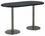 36''W x 72''D RaceTrack Laminate Bistro Height Pedestal Table with Graphite Nebula Top - Silver Round Base [T3672R-B1922-SL-GRN-38-IFK]