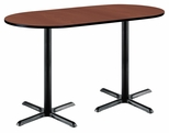 36''W x 72''D RaceTrack Laminate Bistro Height Pedestal Table with Mahogany Top - Black X-Base [T3672R-B2025-BK-MH-38-IFK]