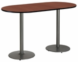 36''W x 72''D RaceTrack Laminate Bistro Height Pedestal Table with Mahogany Top - Silver Round Base [T3672R-B1922-SL-MH-38-IFK]