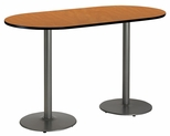 36''W x 72''D RaceTrack Laminate Bistro Height Pedestal Table with Medium Oak Top - Silver Round Base [T3672R-B1922-SL-MO-38-IFK]
