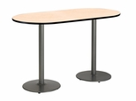 36''W x 72''D RaceTrack Laminate Bistro Height Pedestal Table with Natural Top - Silver Round Base [T3672R-B1922-SL-NA-38-IFK]