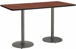 36''W x 72''D Rectangular Laminate Bistro Height Pedestal Table with Mahogany Top - Silver Round Base [T3672-B1922-SL-MH-38-IFK]