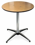 42''H Round Plywood Pedestal Table with Aluminum X-Base [72012H-MCC]