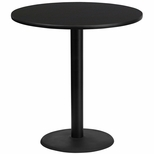 42'' Round Black Laminate Table Top with 24'' Round Bar Height Base [BFDH-42BKRD-7BAR-TDR]
