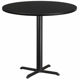 42'' Round Black Laminate Table Top with 33'' x 33'' Bar Height Base [BFDH-42BKRD-5BAR-TDR]