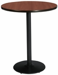 42'' Round Laminate Bistro Height Pedestal Table with Mahogany Top - Black Round Base [T42RD-B1922-BK-MH-38-IFK]