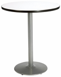 42'' Round Laminate Bistro Height Pedestal Table with Crisp Linen Top - Silver Round Base [T42RD-B1922-SL-CL-38-IFK]