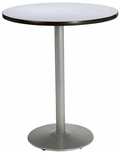42'' Round Bistro Height Pedestal Table with Grey Nebula Top - Silver Round Base [T42RD-B1922-SL-GYN-38-IFK]