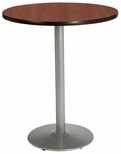 42'' Round Laminate Bistro Height Pedestal Table with Mahogany Top - Silver Round Base [T42RD-B1922-SL-MH-38-IFK]