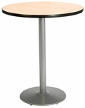 42'' Round Laminate Bistro Height Pedestal Table with Natural Top - Silver Round Base [T42RD-B1922-SL-NA-38-IFK]