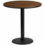 42'' Round Walnut Laminate Table Top with 24'' Round Bar Height Base [BFDH-42WALRD-7BAR-TDR]