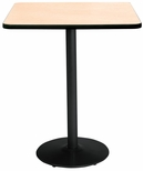 42'' Square Laminate Bistro Height Pedestal Table with Natural Top - Black Round Base [T42SQ-B1922-BK-NA-38-IFK]