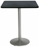 42'' Square Laminate Bistro Height Pedestal Table with Graphite Nebula Top - Silver Round Base [T42SQ-B1922-SL-GRN-38-IFK]