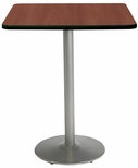 42'' Square Laminate Bistro Height Pedestal Table with Mahogany Top - Silver Round Base [T42SQ-B1922-SL-MH-38-IFK]