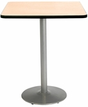 42'' Square Laminate Bistro Height Pedestal Table with Natural Top - Silver Round Base [T42SQ-B1922-SL-NA-38-IFK]